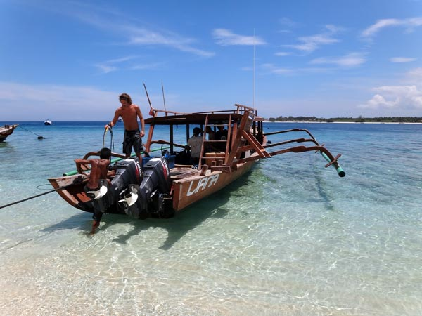 One of Trawangan Dive's boats, Liana, used for the Gili IDC Open Water Sessions